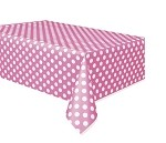 Polka dot tablecloth HOT PINK/WHITE plastic 54x108 UI50265