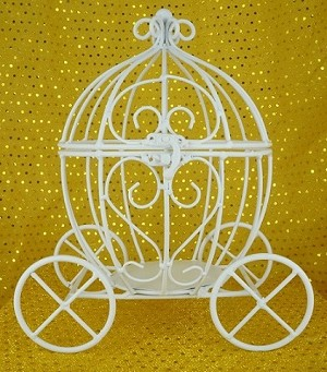 Wire white pumpkin carriage
