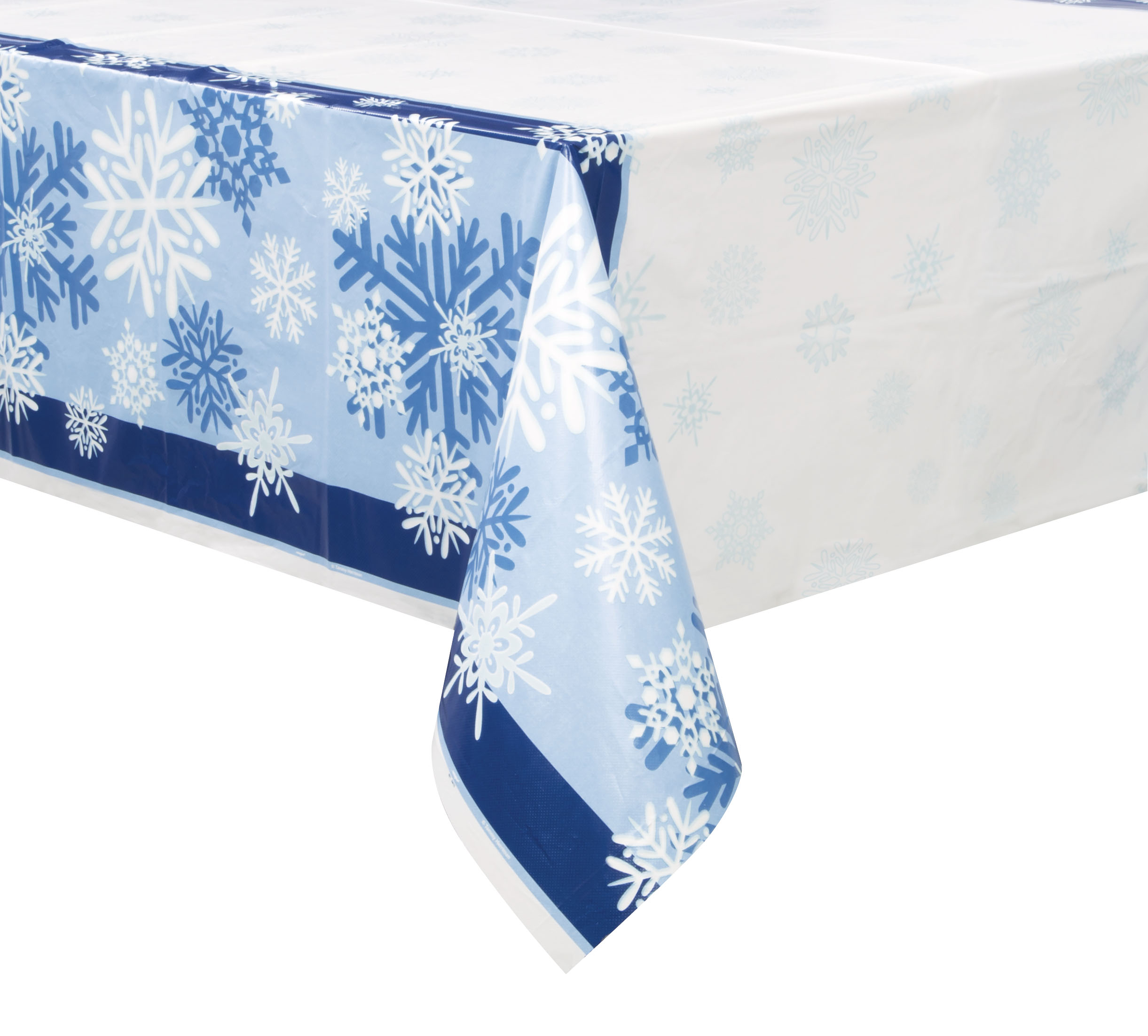 213 & Festive snow flake pattern holiday tablecloth fits a 6 foot banquet table