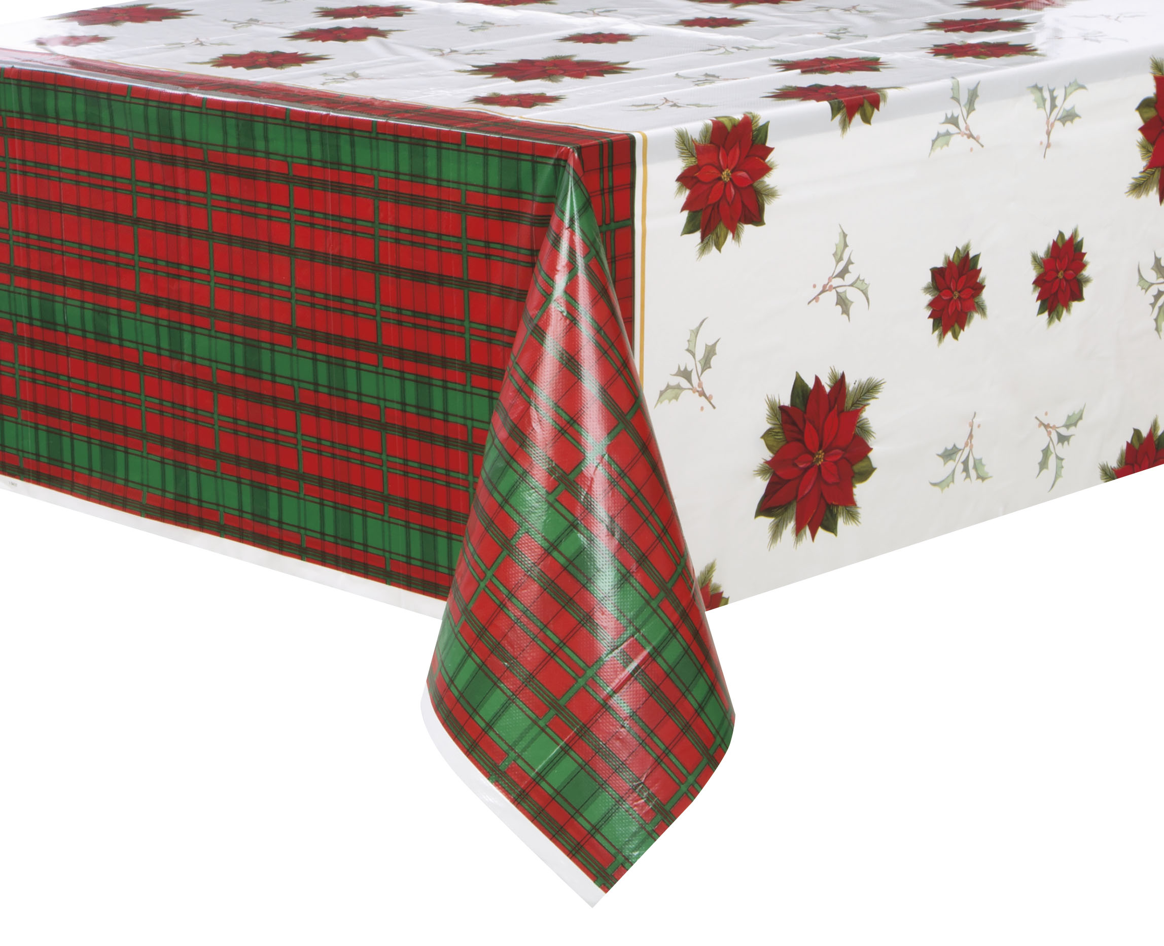 Festive Poinsettia Pattern Holiday Tablecloth Fits A 6