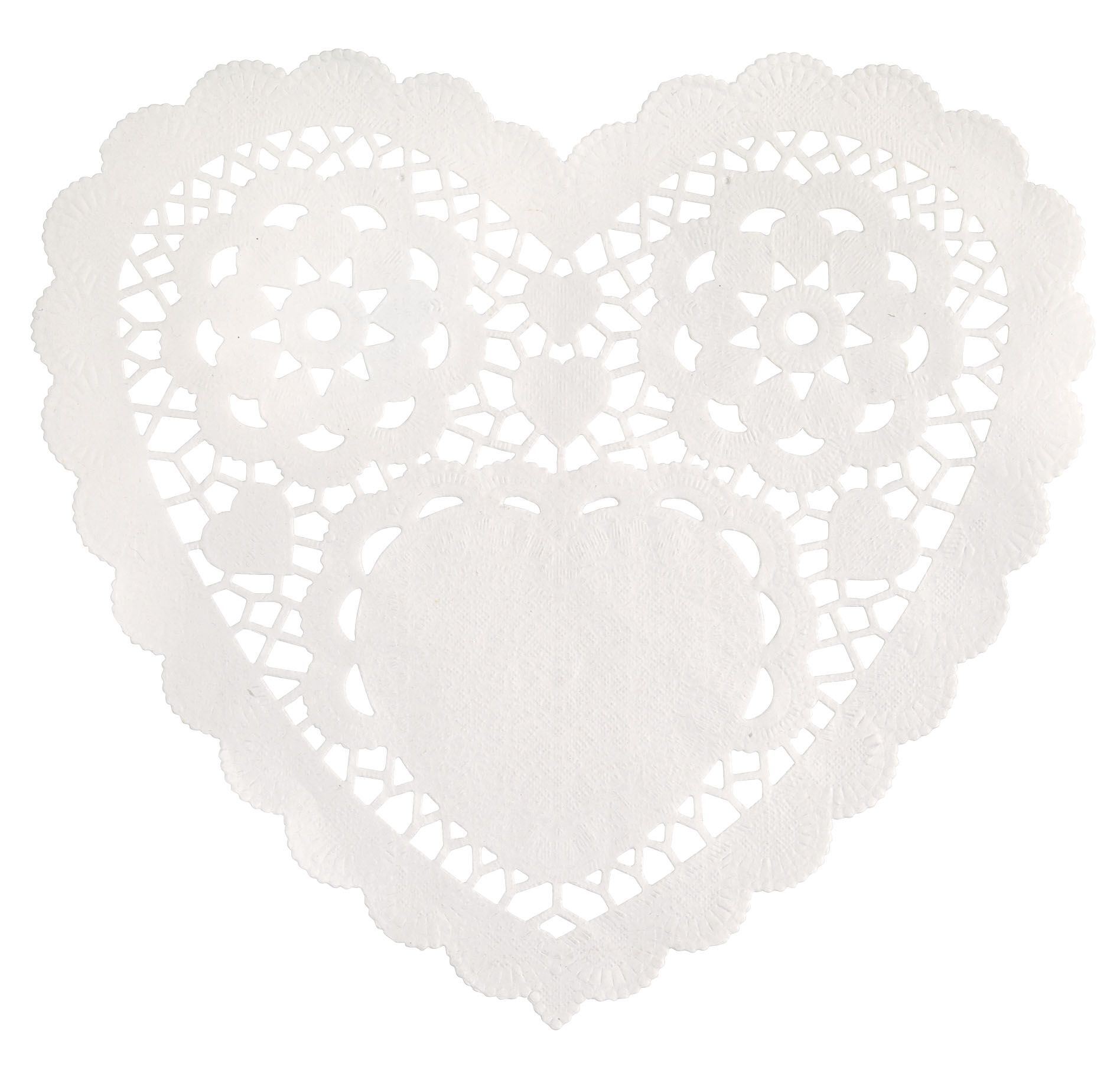 WHITE 10inch Heart Doilies