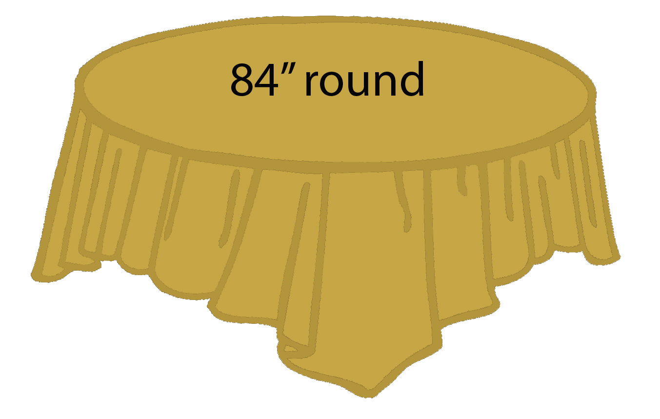 84 Plastic Round Tablecover Gold