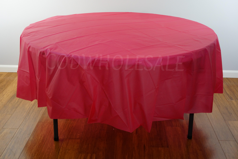 Burgundy 96 Round Plastic Tablecloth Tc96bg