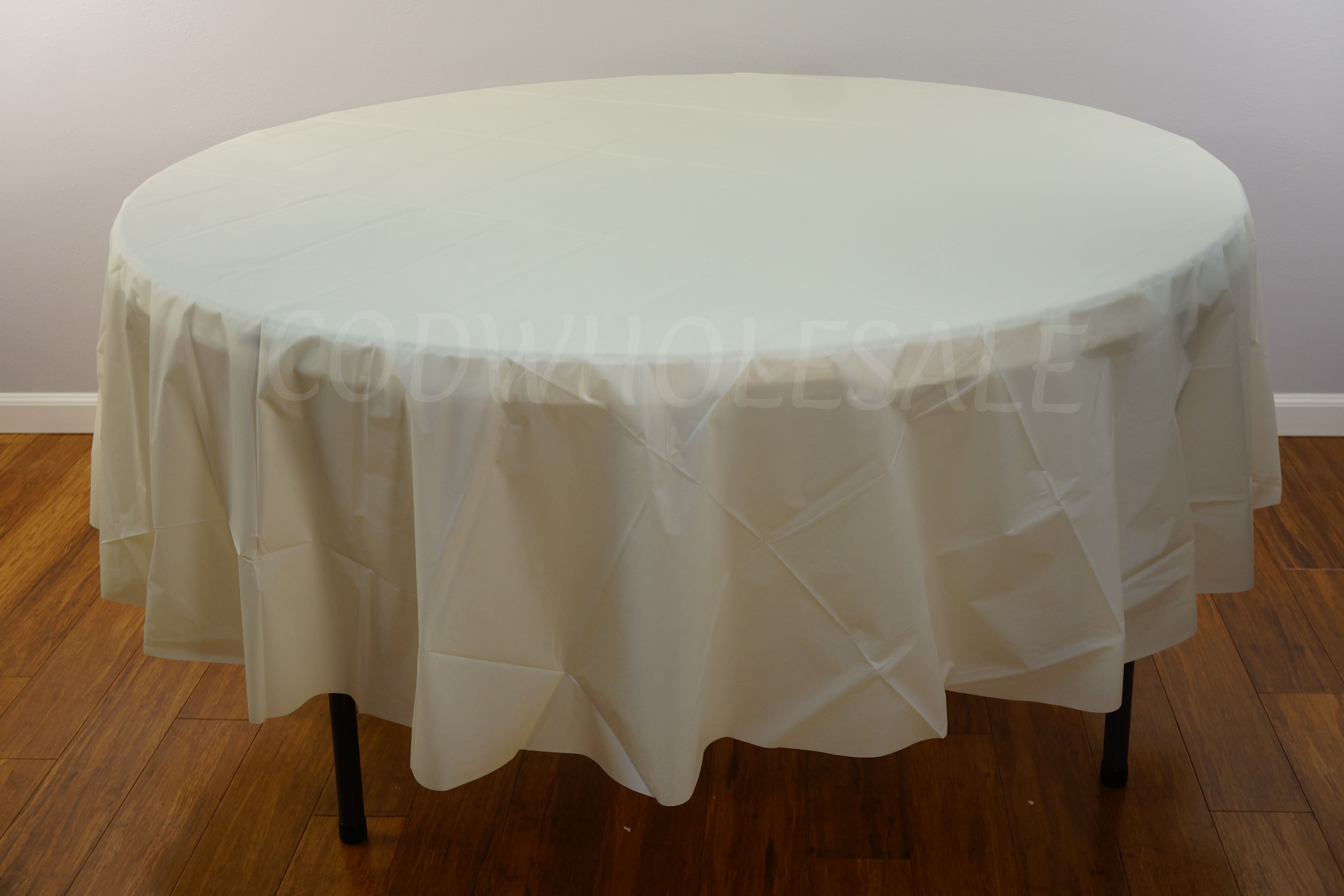 Ivory 96 Round Plastic Tablecloth Tc96iv, 60 Inch Round Tablecloth Disposable