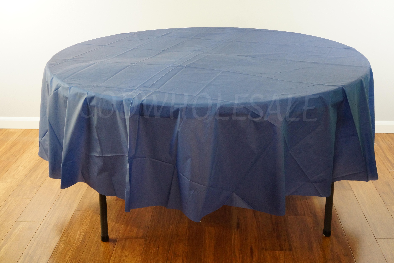 Navy Blue 96 Round Plastic Tablecloth Tc96nv