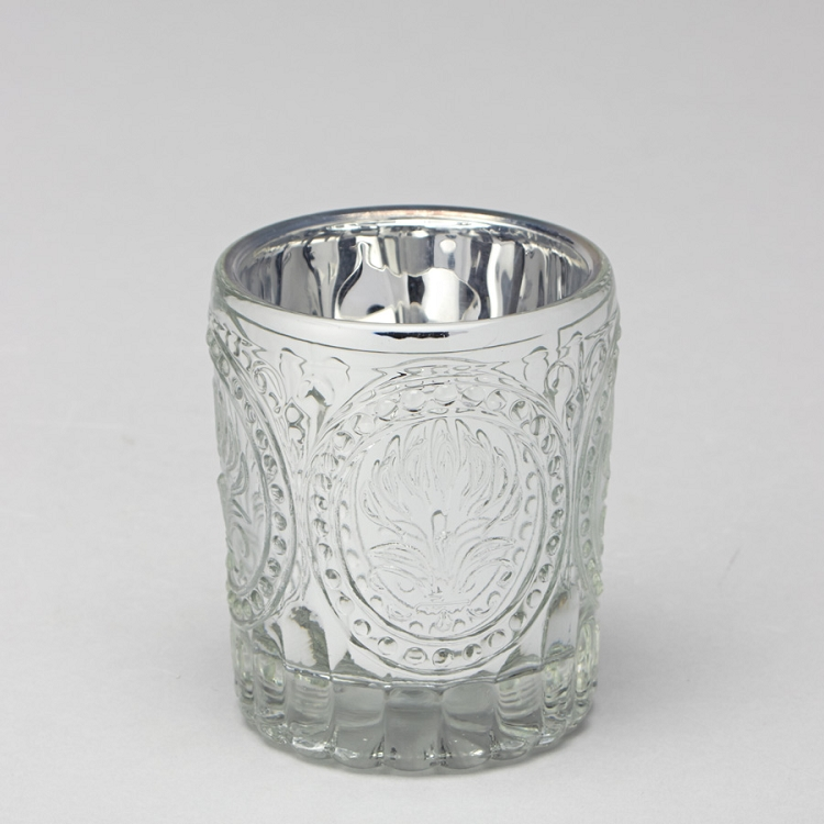 Silver Mercury glass candle holder
