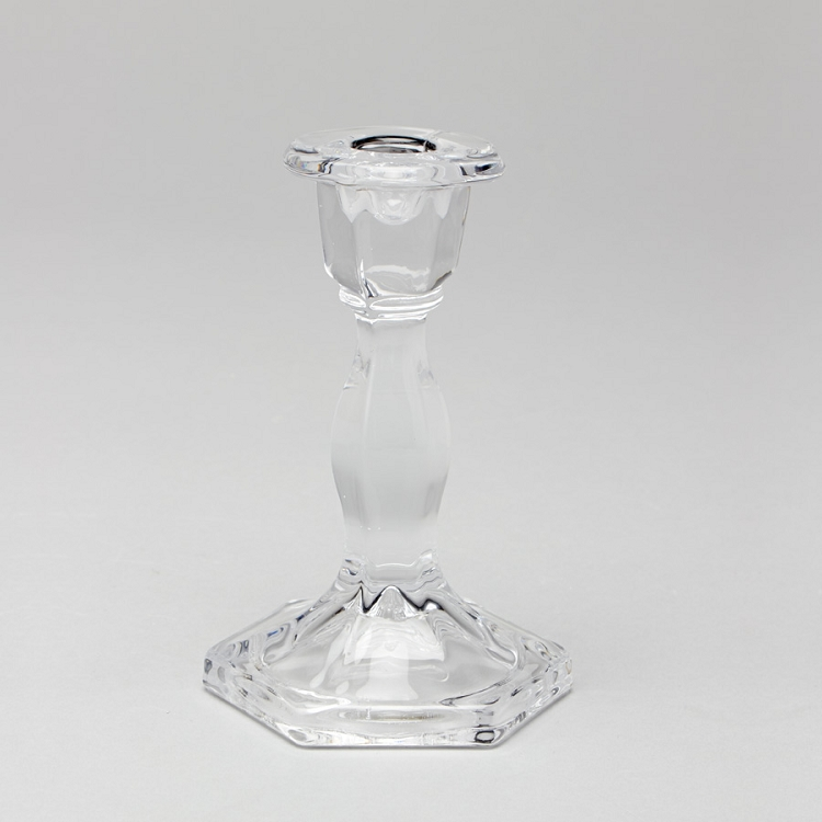 Candlestick Glass Taper Holder 6 inch Clear (set of 2)