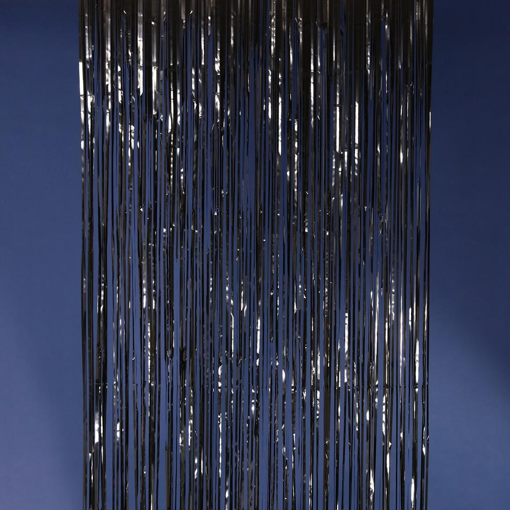 Black metallic fringe curtains