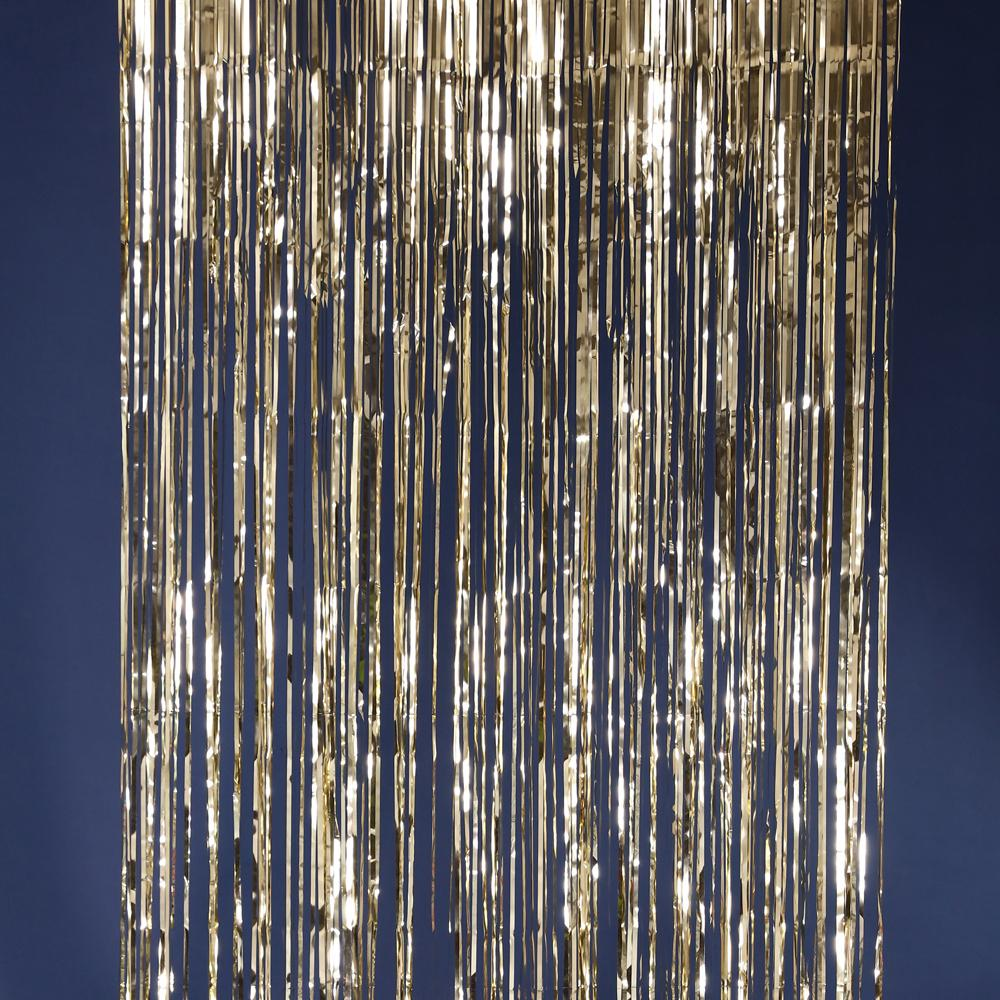 Champagne metallic fringe curtains