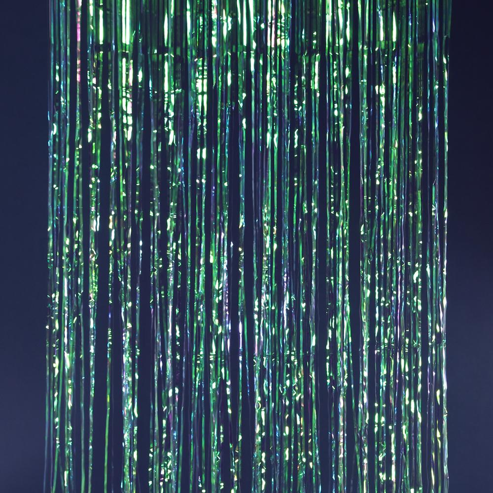 Iridescent metallic fringe curtains