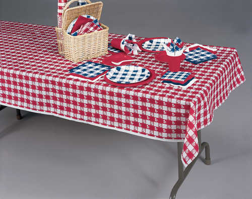 Gingham plastic table covers
