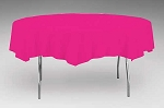 Round 82 inch plastic lined paper tablecloths