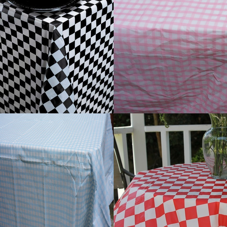 High Quality Checked Plastic Banquet Tablecloths Red Black Blue Pink And White Checks Are A Clic Pattern That Has Been Around For Ages