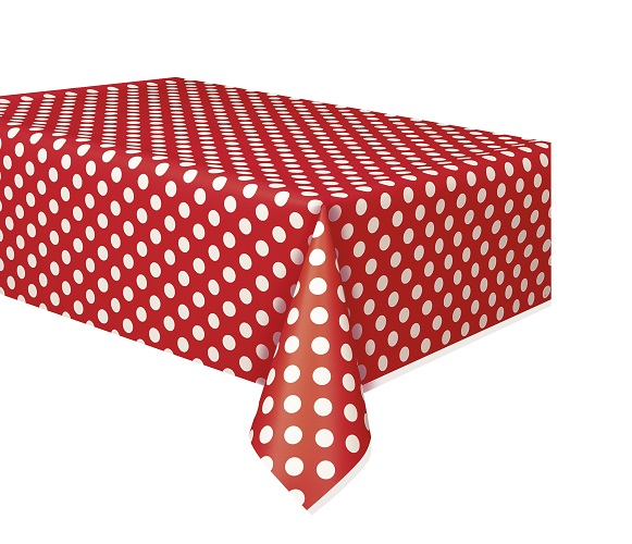 Red And White Polka Dot Plastic Table Covers, Banquet Table Cloths And More  Such As. Red And White Polka Dot: Beverage Napkins, Lunch Napkins, Dinner  Plates ...