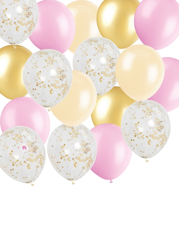 Pink gold confetti balloon pack