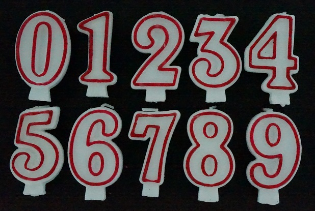3 Inch Wax Number Premium White Red Birthday Party Event