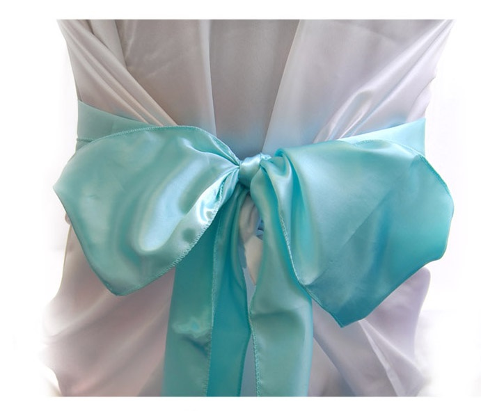 AQUA  satin chair bows (6pcs/bag)