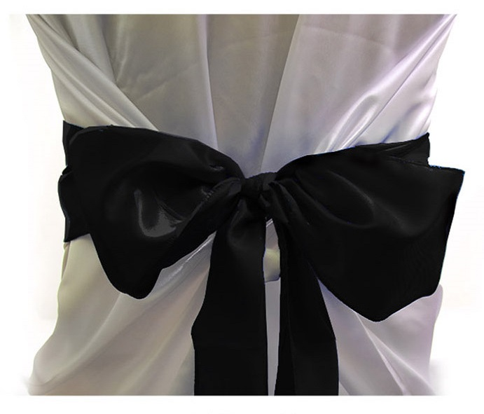 Black Satin Chair Bows Sashes Table Runners Are A Great