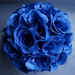 Silk kissing pomander flower ball  ROYAL BLUE