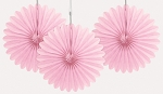 PINK 6 inch tissue paper fan (3ct)
