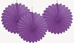 PURPLE 6 inch tissue paper fan (3ct)
