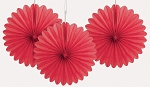 RED 6 inch tissue paper fan (3ct)