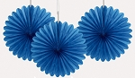 6 inch tissue paper fan ROYAL BLUE 3 pieces UI63257