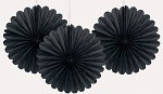 BLACK 6 inch tissue paper fan (3ct)