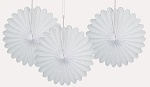 WHITE 6 inch tissue paper fan (3ct)