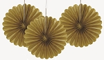 6 inch tissue paper fan GOLD 3 pieces UI63263