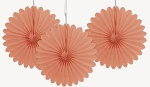 6 inch tissue paper fan CORAL 3 pieces UI63266