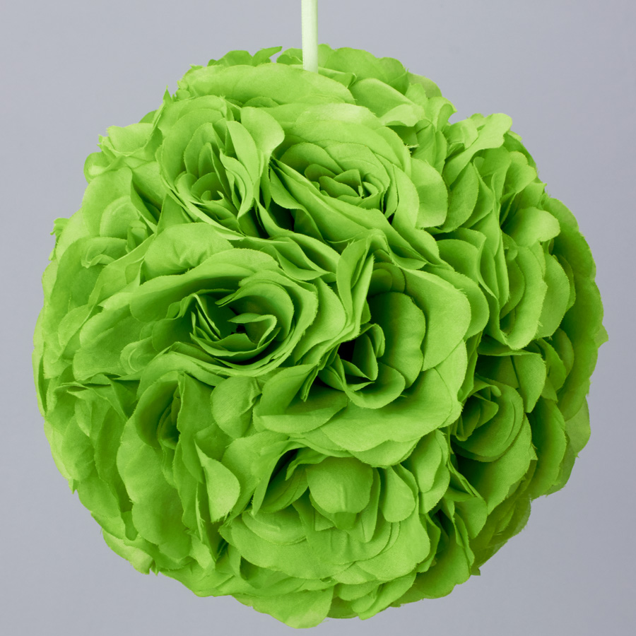 7 Inches White Flower Ball: Apple Green 7 And 10 Inch Silk Flower Pomander Kissing Balls