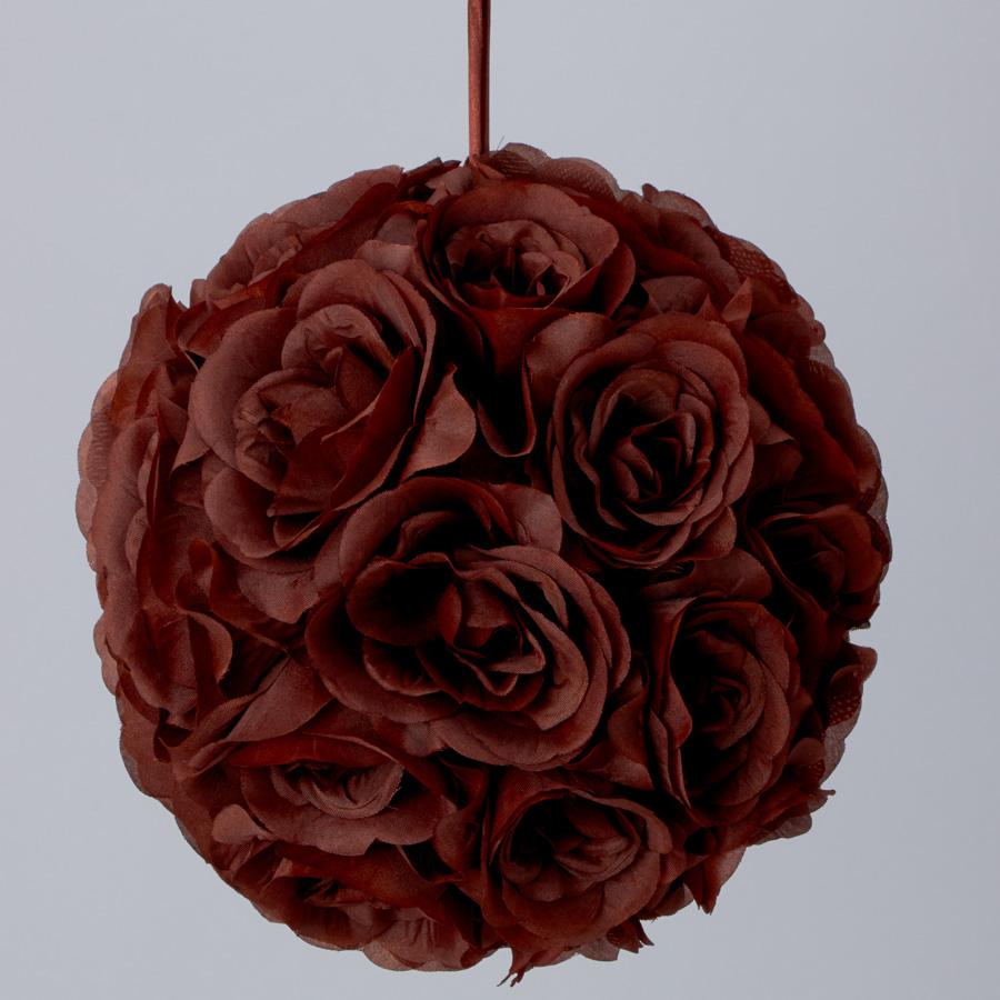Brown 10 Inch Silk Flower Pomander Kissing Balls