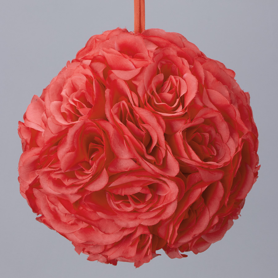 Coral 7 And 10 Inch Silk Flower Pomander Kissing Balls