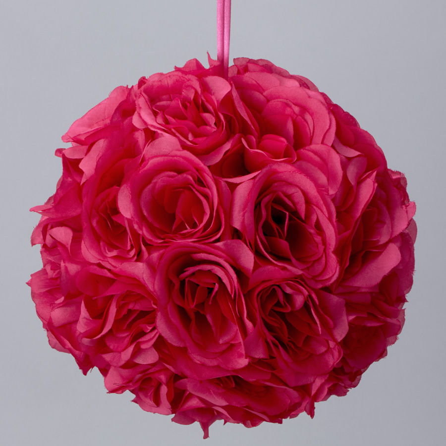 7 Inches White Flower Ball: Fuchsia 7 And 10 Inch Silk Flower Pomander Kissing Balls