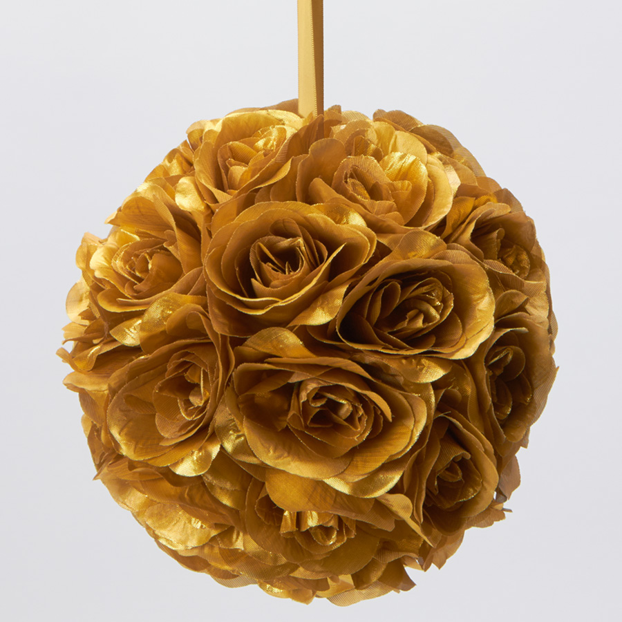 Gold 7 And 10 Inch Silk Flower Pomander Kissing Balls