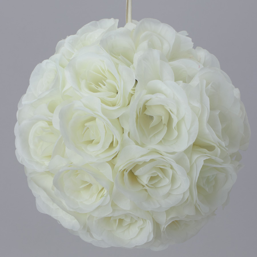 7 Inches White Flower Ball: Ivory Eggshell 7 And 10 Inch Silk Flower Pomander Kissing