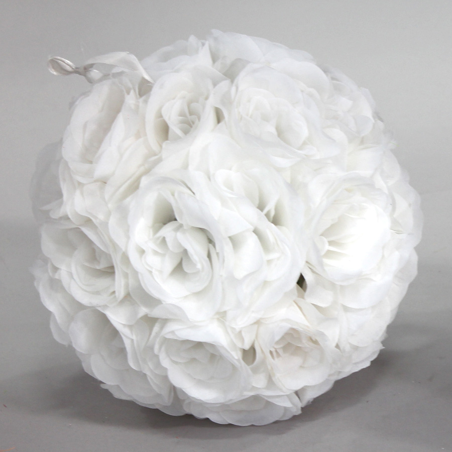 White 7 And 10 Inch Silk Rose Flower Pomander Kissing Balls
