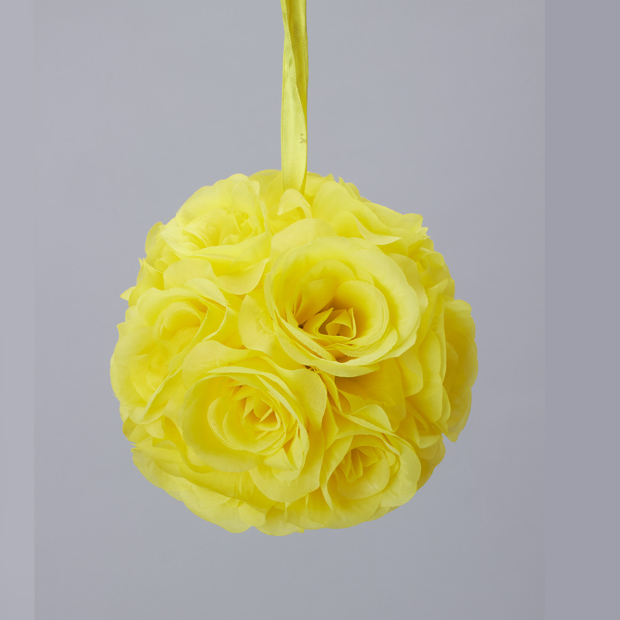 7 Inches White Flower Ball: White 7 And 10 Inch Silk Rose Flower Pomander Kissing Balls