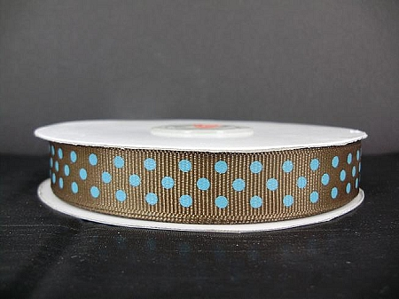 Grosgrain polka dots BROWN/TURQUOISE