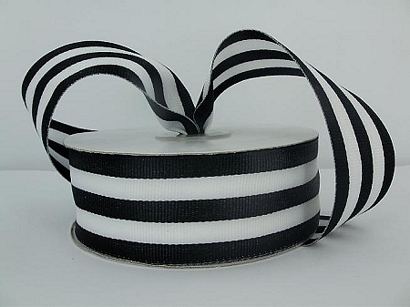 Striped grosgrain BLACK/WHITE