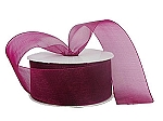 Monofilament organza ribbon BURGUNDY/WINE