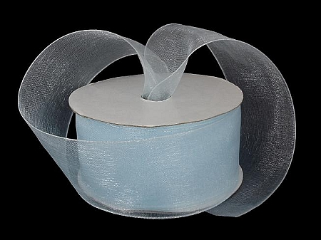 Monofilament organza ribbon LIGHT BABY BLUE