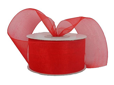 Monofilament organza ribbon RED