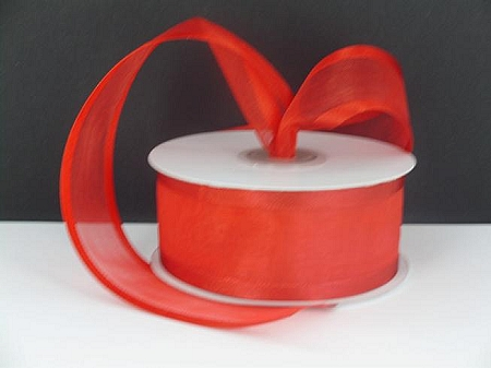 Satin edge organza RED  3/8