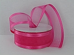 Satin edge organza SHOCKING PINK 3/8