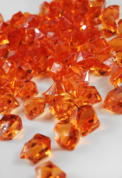 Orange acrylic rocks