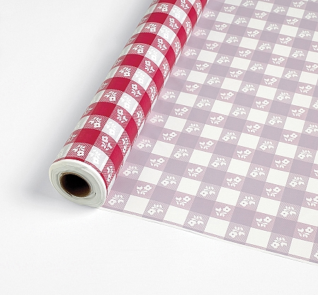 Gingham RED/WHITE plastic tableroll  40