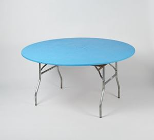 Light Blue Elastic Stretch Table Cover For 60 Inch Round Table