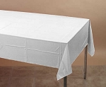 WHITE Plastic lined paper rectangle tablecloth-cover 54